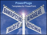 PowerPoint Template - four directions of economy sign post over blue sky