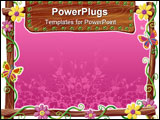 PowerPoint Template - a digitally rendered wood frame with flowers