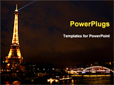 PowerPoint Template - eiffel tower and the night city. Paris. France