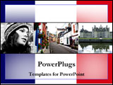 PowerPoint Template - Images of France over the French flag.