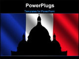 PowerPoint Template - Sacre Coeur Montmartre and rippled French Flag illustration