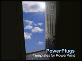 PowerPoint Template - opened door to clouds concept of freedom
