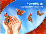 PowerPoint Template - hands with beautiful butterflies on blue sky