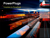 PowerPoint Template - Freight Station with the trains with the night lamps