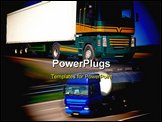 PowerPoint Template - Big modern freight truck on the road with motion blur effect