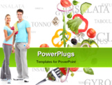 PowerPoint Template - Falling fresh vegetable with text background