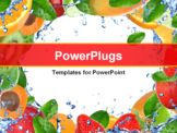 PowerPoint Template - Fresh healthy fruit background with splashing water