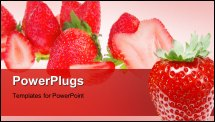 PowerPoint Template - Fresh berry, strawberry isolated over white background