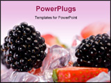 PowerPoint Template - Ice Strawberries and Blackberries. Fresh strawberries and blackberries with ice cubes