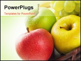 PowerPoint Template - hree apples in different colors placed in a wicker basket with some grape and banana isolated on wh