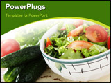 PowerPoint Template - Salad with fresh tomatoes cucumbers and lettuce