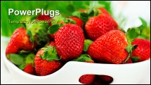 PowerPoint Template - Fresh strawberries in the bowl on a white background