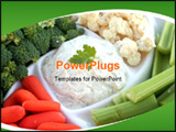 PowerPoint Template - An assortment of fresh vegetables on a party platter with dip.