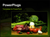 PowerPoint Template -  grouping of colorful fresh vegetables which includes cucumbers, jalapeno peppers, red skin potatoe
