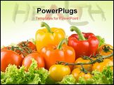 PowerPoint Template - red and yellow tomatoes? sweet pepper, lettuce on white background