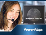 PowerPoint Template - Business woman smiling. customer service center with screen.