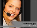 PowerPoint Template - Smiling woman with headset.