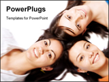 PowerPoint Template - Beautiful girls with heads together over white.