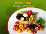 PowerPoint Template - Basket of autumn harvest vegetable and fruits