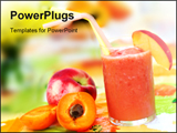 PowerPoint Template - Bright colorful summer table with peach smoothie tropical fruits and flowers.