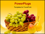PowerPoint Template - ripe pears and grape of the miscellaneous sort on white background