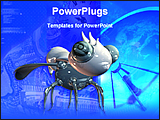 PowerPoint Template - robot bug in a blue background