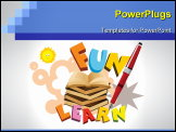 PowerPoint Template - abstract funky education background with books, pen