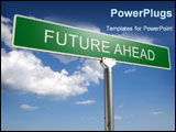 PowerPoint Template - Photorealistic 3D sky-high future ahead street sign
