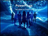 PowerPoint Template - a small group of business people in blue silhouettes