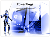 PowerPoint Template - Blue Robot and computer technology mix