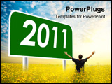 PowerPoint Template - year 2011 sign post against cloudy blue sky.