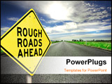 PowerPoint Template - A yellow diamond-shaped road sign cautions people that rough roads are ahead