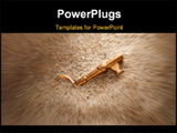 PowerPoint Template - a brass or golden key partially buried in sand