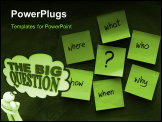 PowerPoint Template - A man ponders the Big Question with words in a thought cloud