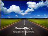 PowerPoint Template - Rural road stretching out into the distance with motion blur under a big expanse blue sky.
