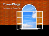 PowerPoint Template - Brick wall with a open window - 3d