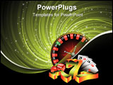 PowerPoint Template - Gambling illustration with casino elements on grunge background.