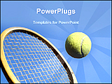 PowerPoint Template - image of a tennis ball and wooden racket
