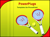 PowerPoint Template - Two tennis rackets and a tennis ball on light blue background