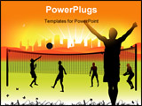 PowerPoint Template - Peoples play on volleyball on nature summer