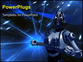 PowerPoint Template - quality 3d illustration of cyborgs in futuristic setting