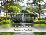 PowerPoint Template - A rooftop garden with a fountain.