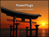 PowerPoint Template - Japanese Temple Gate to Miyajima Shrine looking out over the ocean against a blazing red sunset
