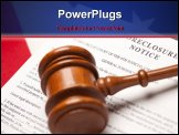 PowerPoint Template - Gavel American Flag and Foreclosure Notice with Selective Focus.