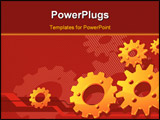 PowerPoint Template - Vector gears background in red, technical, mechanical illustration pattern