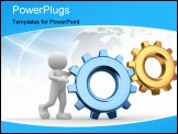 PowerPoint Template - 3d people - human character person and a gear mechanism.