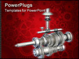 PowerPoint Template - 3D illustration of the internals of a manual gearbox.