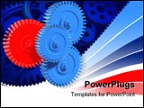 PowerPoint Template - 3d rendered illustration of some blue and one re gears