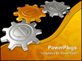 PowerPoint Template - group of gears with their teeth engaged on a white background