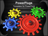 PowerPoint Template - Illustration of brightly colored interlocking cogs on a shiny surface